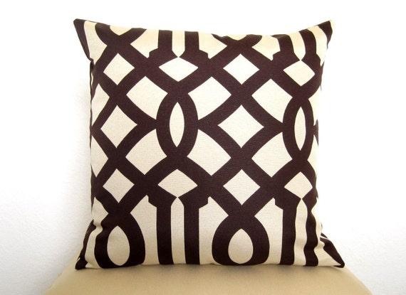 Pair of 2 Imperial Trellis Designer Pillows - 18 inch - Java Brown and Cream - Trellis Pillows - Lattice Pillows - Throw Pillows