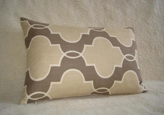 Lattice Outline Decorative Designer Pillow - 10x18 inch - Sand Dune - Tan - Khaki - Ivory - White - Lumbar Pillow