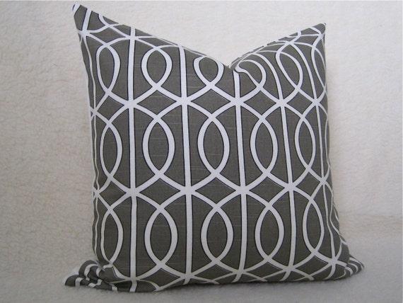 Pair of 2 / Dwellstudio / Gatework Designer Pillows / 18 inch / Brindle / Pattern on both sides / zipper enclosure