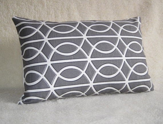 Dwellstudio Designer Pillow - 14x18 inch - Charcoal Gray - BOTH SIDES - Designer Pillow - Decorative Pillow - Lumbar Pillow - Lattice