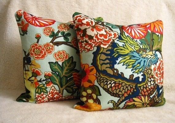 Custom for Deanna - Chiang Mai Dragon Pillows - F. Schumacher - Pair of 18 inch - Aquamarine - Both Sides - Designer Fabric - Chinoiserie