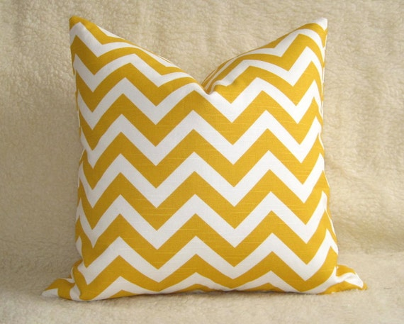 Chevron Print Designer Pillow - Yellow and White - 16 inch - BOTH SIDES - Zig Zag - Decorative Pillow - Yellow Pillow - Throw Pillow
