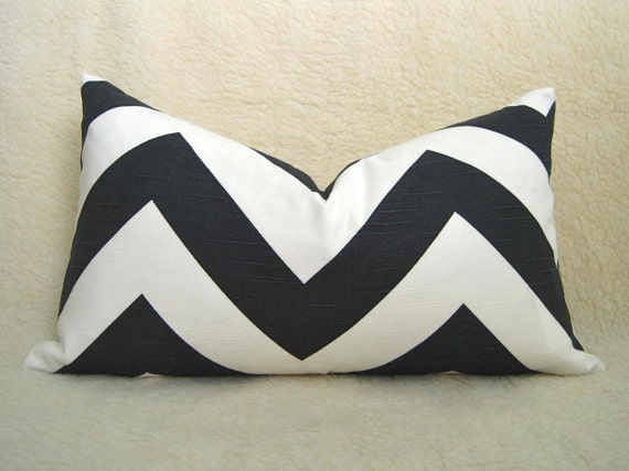 Grande Chevron Print Decorative Designer Pillow - Black & White - 12x20 inch - BOTH SIDES - Zig Zag Pillow - Accent Pillow