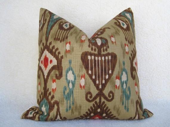 Decorative Designer Pillow 18x18 Brown Red Teal Tan