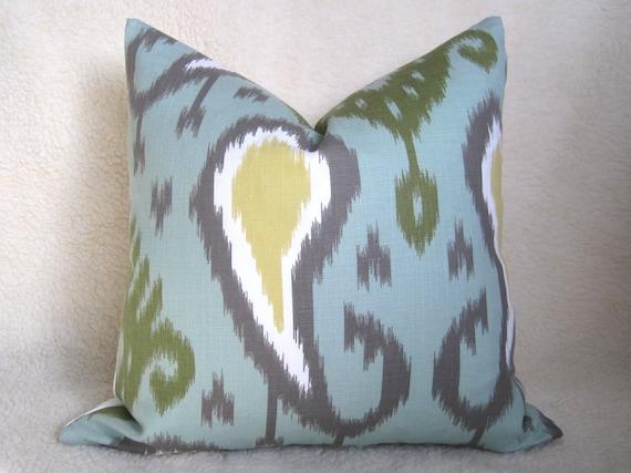 Dwell Studio - Decorative Designer Ikat Pillow - 20x20 inch - Aqua - Green - Yellow - Gray - IKAT - Designer Pillow - Throw Pillow