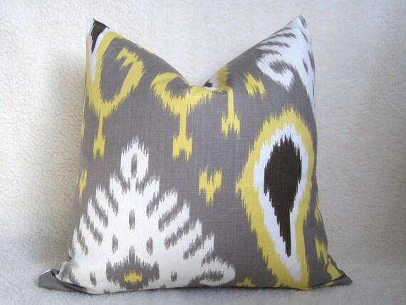 VANESSA'S WEDDING REGISTRY - Dwell Studio - Decorative Designer Ikat Pillow - Yellow - Taupe - Brown - 20x20 inch