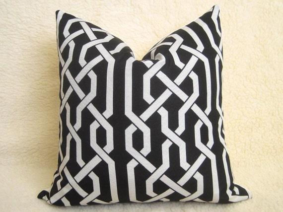 Decorative Pillows - Fretwork Pillow - 18 inch - Black- Trellis Pillow - Lattice Pillow - Throw Pillow - Designer