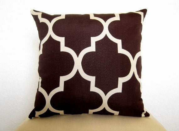SALE - Moroccan Quatrefoil Lattice Decorative Designer Pillow Cover - Java Brown and Ivory - 18 inch - Decorative - Throw Pillow - LATTICE