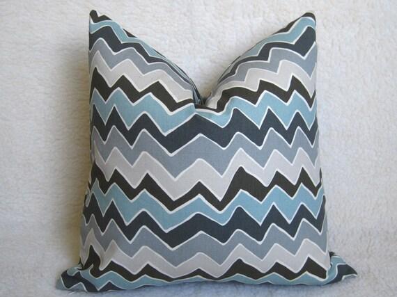 Chevron Decorative Designer Pillow - Light Blue - Gray - Charcoal - Blue - 18 inch - BOTH SIDES - Chevron Pillow - Zig Zag - Accent Pillow