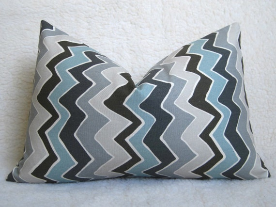 Chevron Decorative Designer Pillow - Light Blue - Gray - Charcoal - Blue - 12x18 inch - BOTH SIDES - Chevron Pillow - Zig Zag - Lumbar