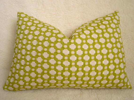 20 inch - Betwixt Pillow - F. Schumacher - Chartreuse - BOTH SIDES - Designer Fabric - Green Pillow - Embroidered - Decorative Pillow