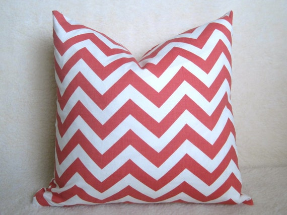 SALE - Chevron Decorative Pillow - Salmon - Coral - PInk - White - 16 inch - BOTH SIDES - Zig Zag Pillow - Pink Pillow - Throw Pillow