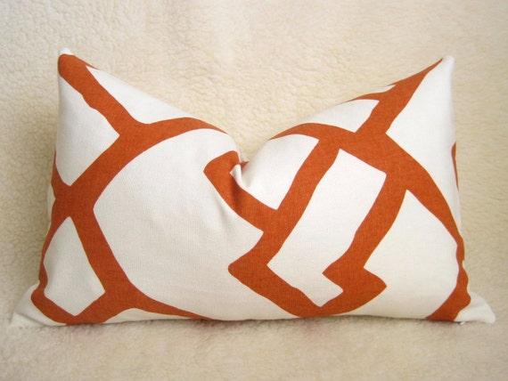 Zimba Decorative Pillow - F. Schumacher - 13x22 inch - Orange - White - Designer Pillow - Designer Fabric - Lumbar Pillow - Accent Pillow