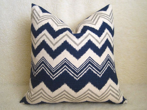 Navy Blue Decorative Bed Pillows: Decorative Ikat Chevron Pillow Navy Blue 18 By WillaSkyeHome