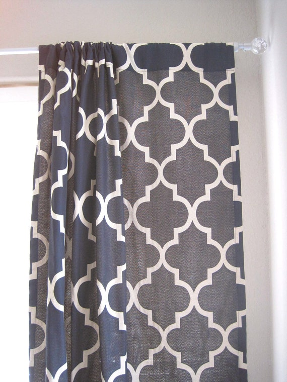 Sale Pair Of 108 Navy Lattice Drapery Panels With