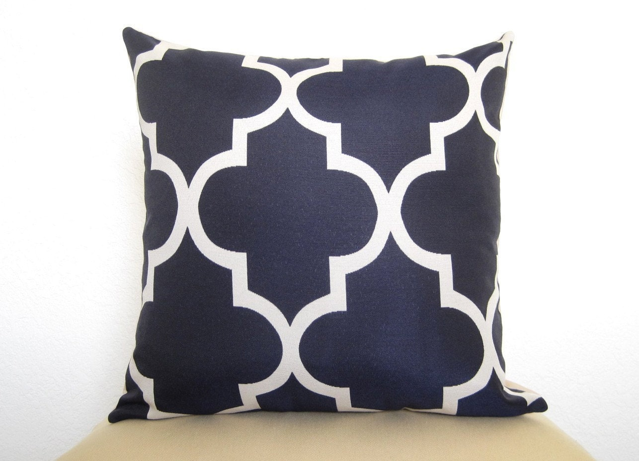 Decorative Pillows Navy : Decorative Designer Pillow Moroccan Quatrefoil by WillaSkyeHome