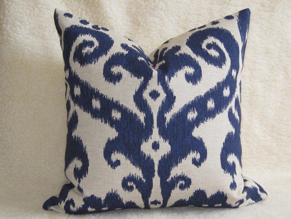 Decorative Pillows Etsy : Decorative Designer Ikat Pillow Navy Blue 18 by WillaSkyeHome