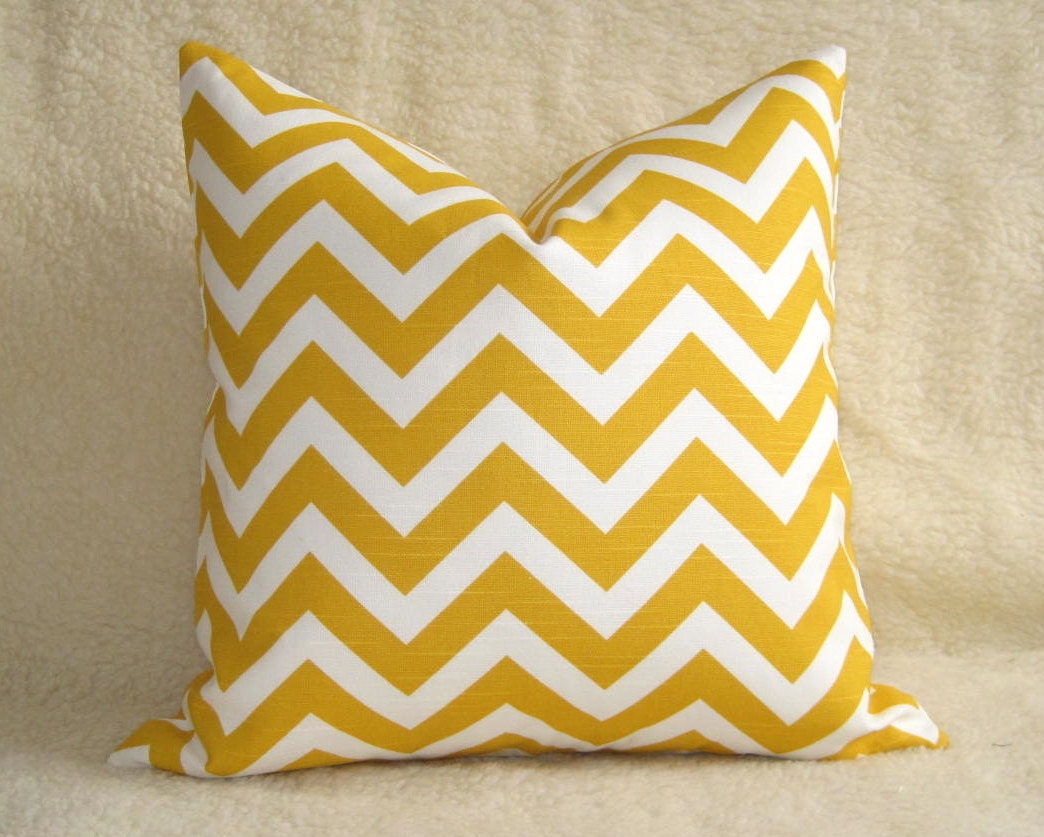 Outdoor Chevron Decorative Pillow Yellow White by WillaSkyeHome