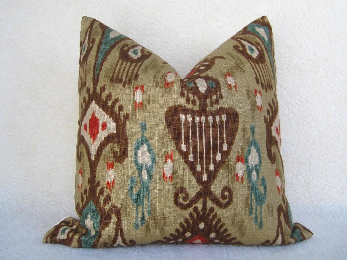 Red Tan And Brown Throw Pillows : Decorative Designer Pillow 18x18 Brown Red Teal Tan
