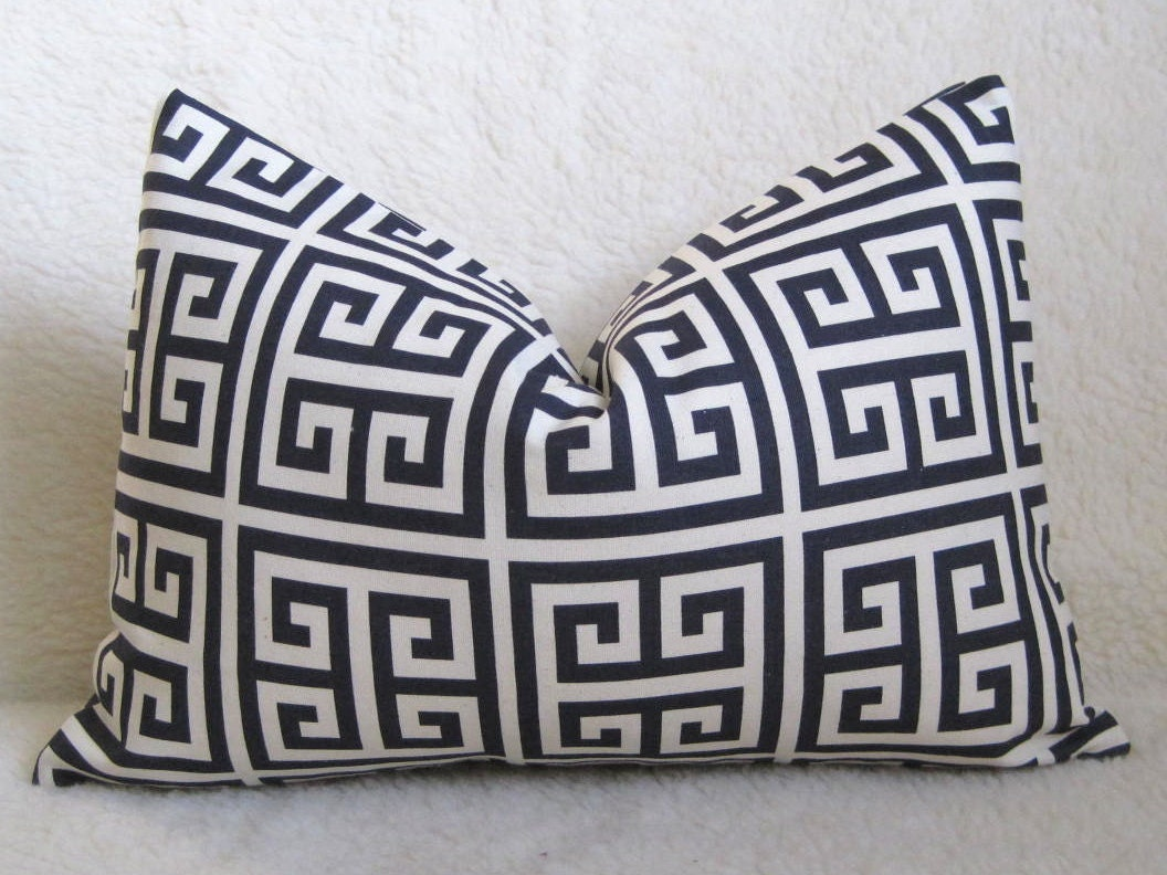Key Decorative Pillow : Designer Decorative Greek Key Pillow Squares Navy Blue and