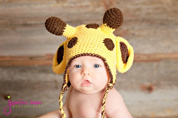 sale-crochet pattern giraffe hat with earflap-  sizes 0-3 month only
