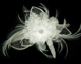 Rhinestone feather flower fascinator (white)