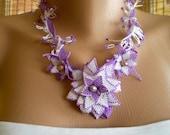 Lavender Handmade Oya Lace Necklace