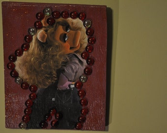 Miss Piggy muppet, decoupaged wall hanging