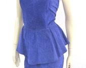 Leather Peplum Dress / Vintage 80s Suede Dress / Purple Suede Dress S Small