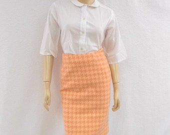 Vintage 60s Pencil Skirt / Tangerine Houndstooth Skirt / Orange Mad Men Pencil Skirt 4 S