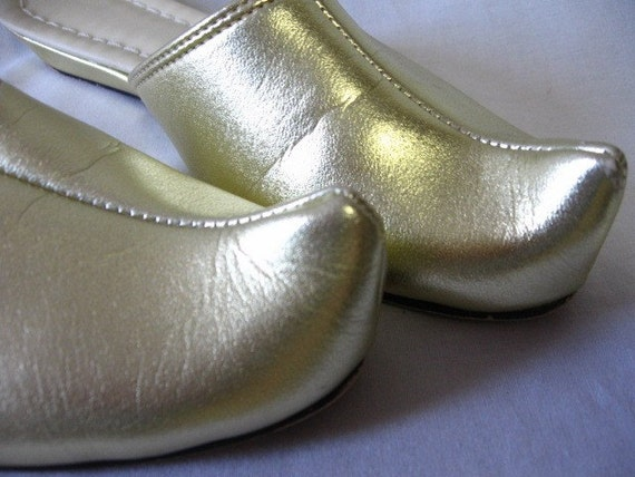 items similar to vintage gold genie slippers wedge shoes 6