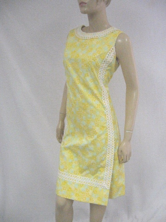 Vintage 60s 1960s The LILLY Lilly Pulitzer Yellow Shift Dress Braid Trim 10