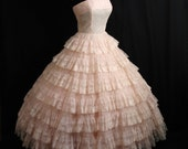 Vintage 1950's 50s STRAPLESS Bombshell Layered Tiers PINK  Chiffon Organza Lace Party Prom WEDDING Dress Gown