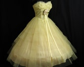 RESERVED Vintage 1950's 50s Strapless Bombshell Layered Lemon Yellow Tulle Lace Party PROM Wedding DRESS