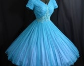 Vintage 1950's 50s Bombshell Turquoise Blue Applique CHIFFON Organza Party Prom Wedding Dress Gown