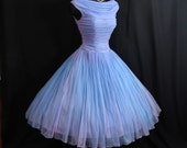 Vintage 1950's 50s Periwinkle Blue Lilac Ruched Chiffon Party Prom Wedding Dress Gown