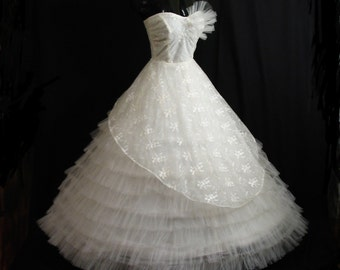 Vintage 50's 50s STRAPLESS Bombshell White Tulle Lace Party Prom Wedding DRESS Gown