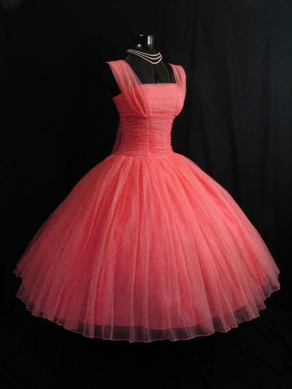 Vintage 50's 1950's PINK Coral Fred Perlberg Ruched