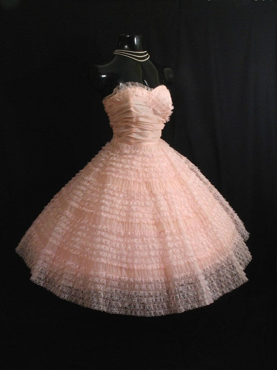 Vintage 50 1950's STRAPLESS PINK Ruched Tiered Chiffon Organza Party Prom Wedding Dress