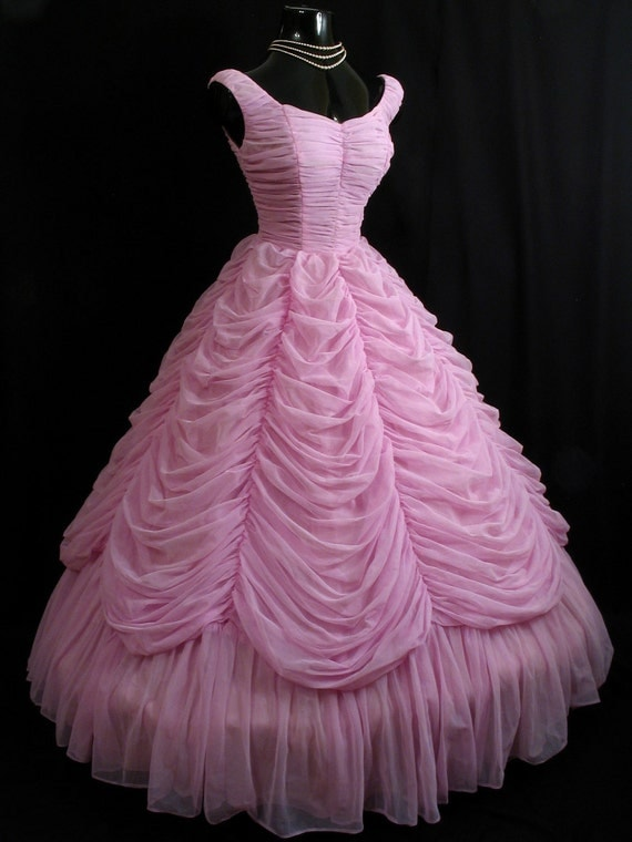 Vintage 1950's 50s Strapless Orchid PINK Lavender Ruched Swags Chiffon Organza Circle Skirt Party Prom Wedding Dress