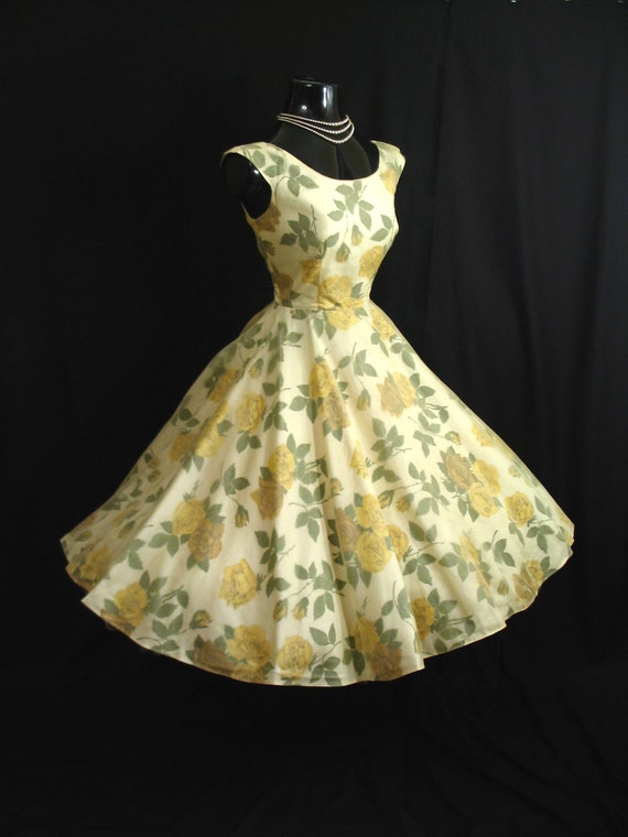 Vintage 1950's 50s Lemon Yellow Chiffon Organza Floral Roses Party Prom Wedding Dress