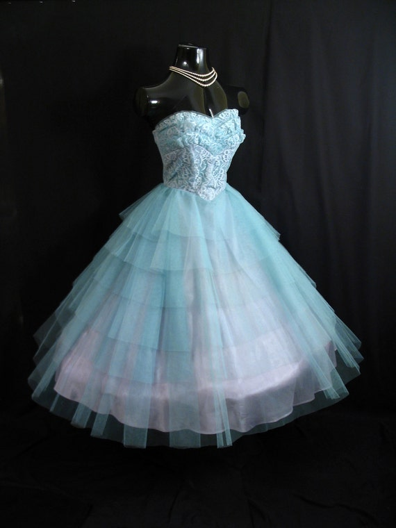 Vintage 1950's 50s STRAPLESS Bombshell Layered Tiers Turquoise Blue Tulle Lace PROM Party Wedding Dress