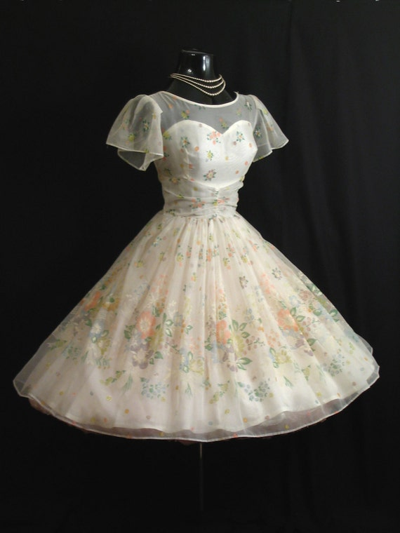 Vintage 1950's 50s White Floral Flocked Chiffon Organza Party Prom Wedding Dress