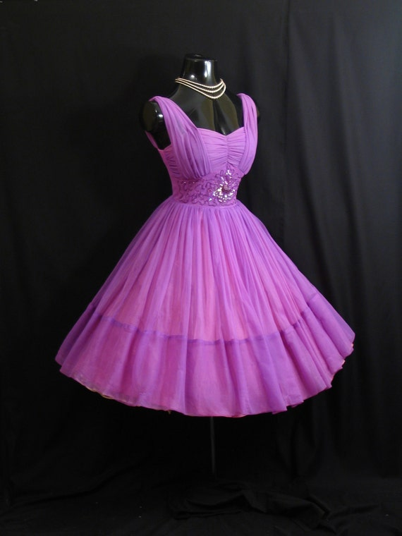 Vintage 1950's 50s Ruched Purple Violet Beaded Chiffon Organza Party Prom Wedding Dress