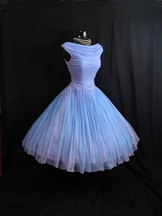Items similar to vintage 1950 39 s 50s periwinkle blue lilac for Periwinkle dress for wedding