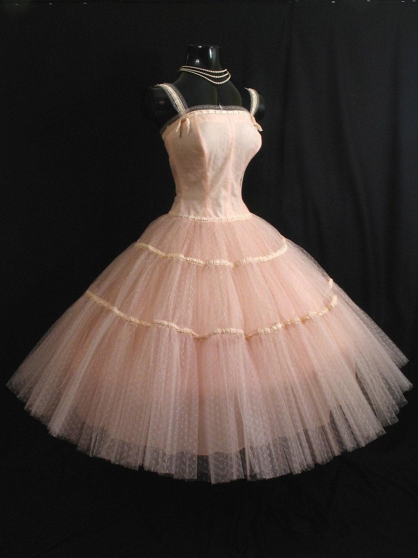 Vintage 50s 1950 S Pink Tulle Taffeta Velvet Circle Skirt