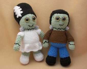 Frankenstein and his Bride Crochet Amigurumi Monster Pattern