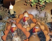 Patti's Ratties Primitive Thanksgiving Turkey Bird Ornies Pattern 230