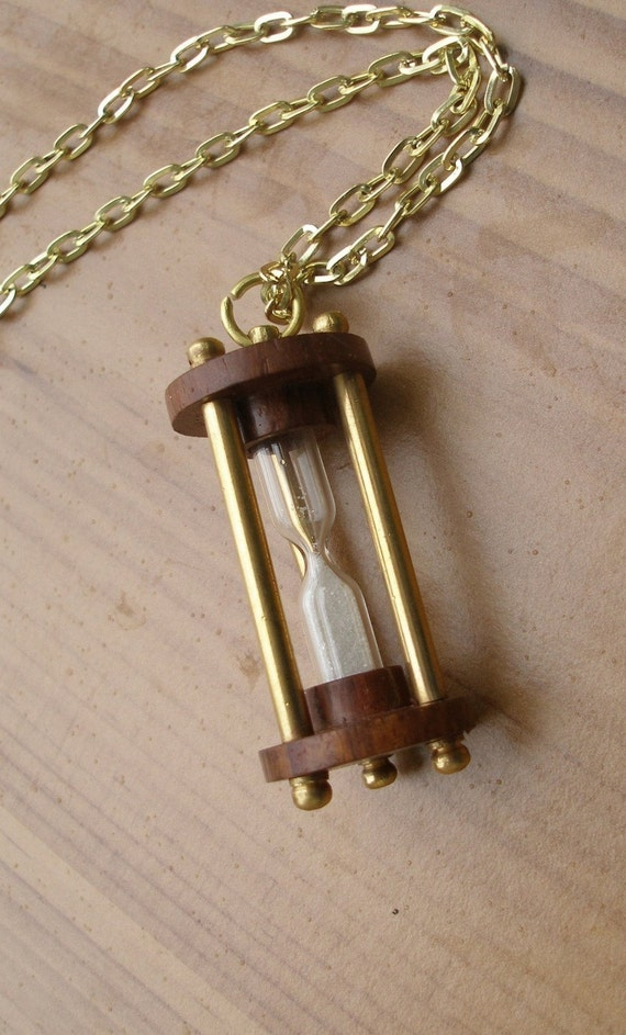 Hourglass Brass Pendant Necklace