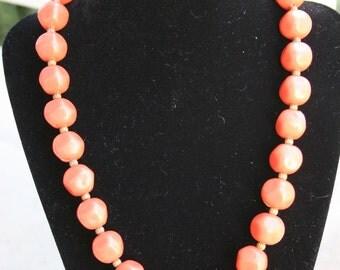 1950's Orange Beaded necklace